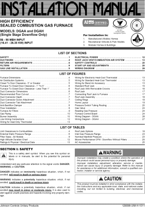 Coleman DGAA070BDTB User Manual FURNACE Manuals And Guides