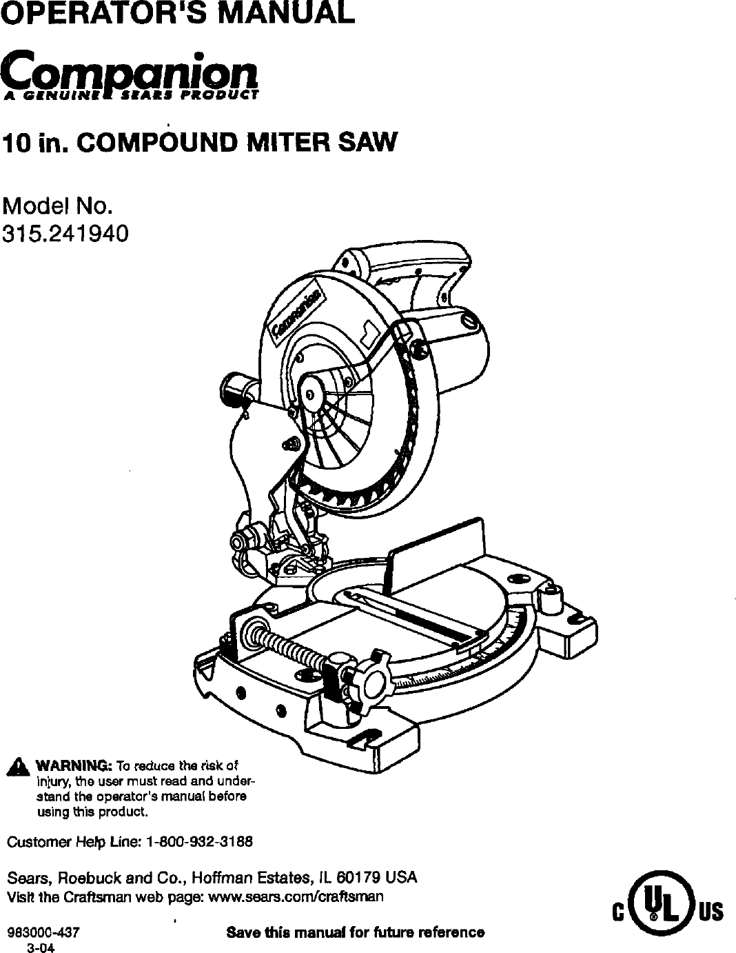Companion User Manual Miter Saw Manuals And