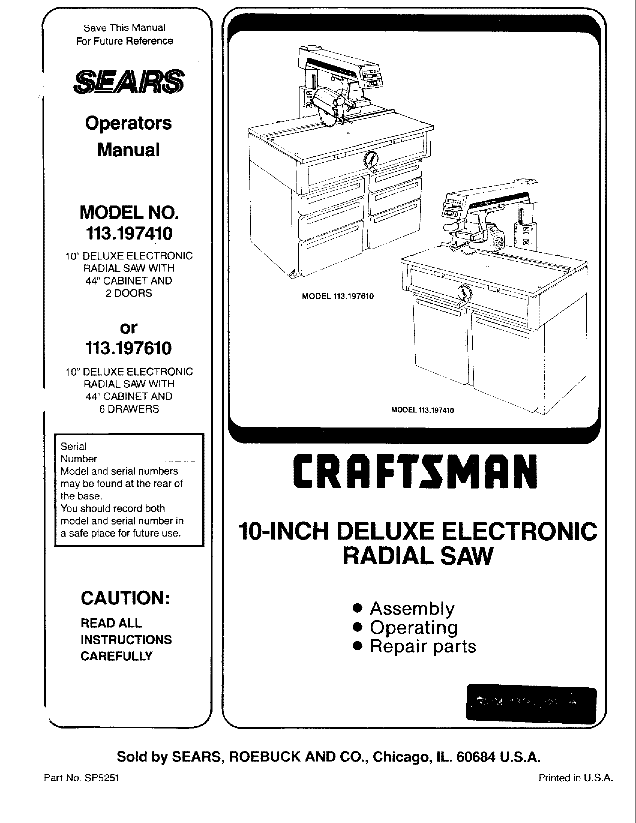 Craftsman User Manual Radial Arm Saw Manuals And