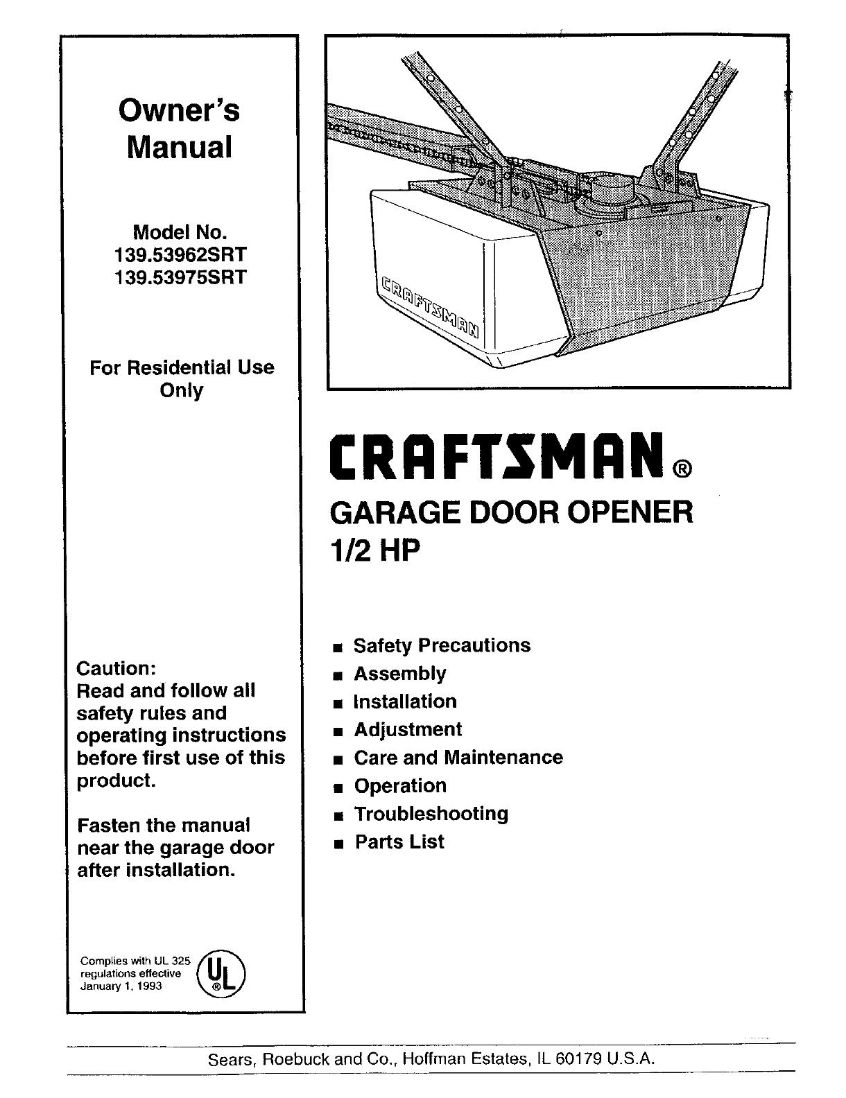 Craftsman 13953962srt User Manual Garage Door Opener Manuals And Guides L0310295