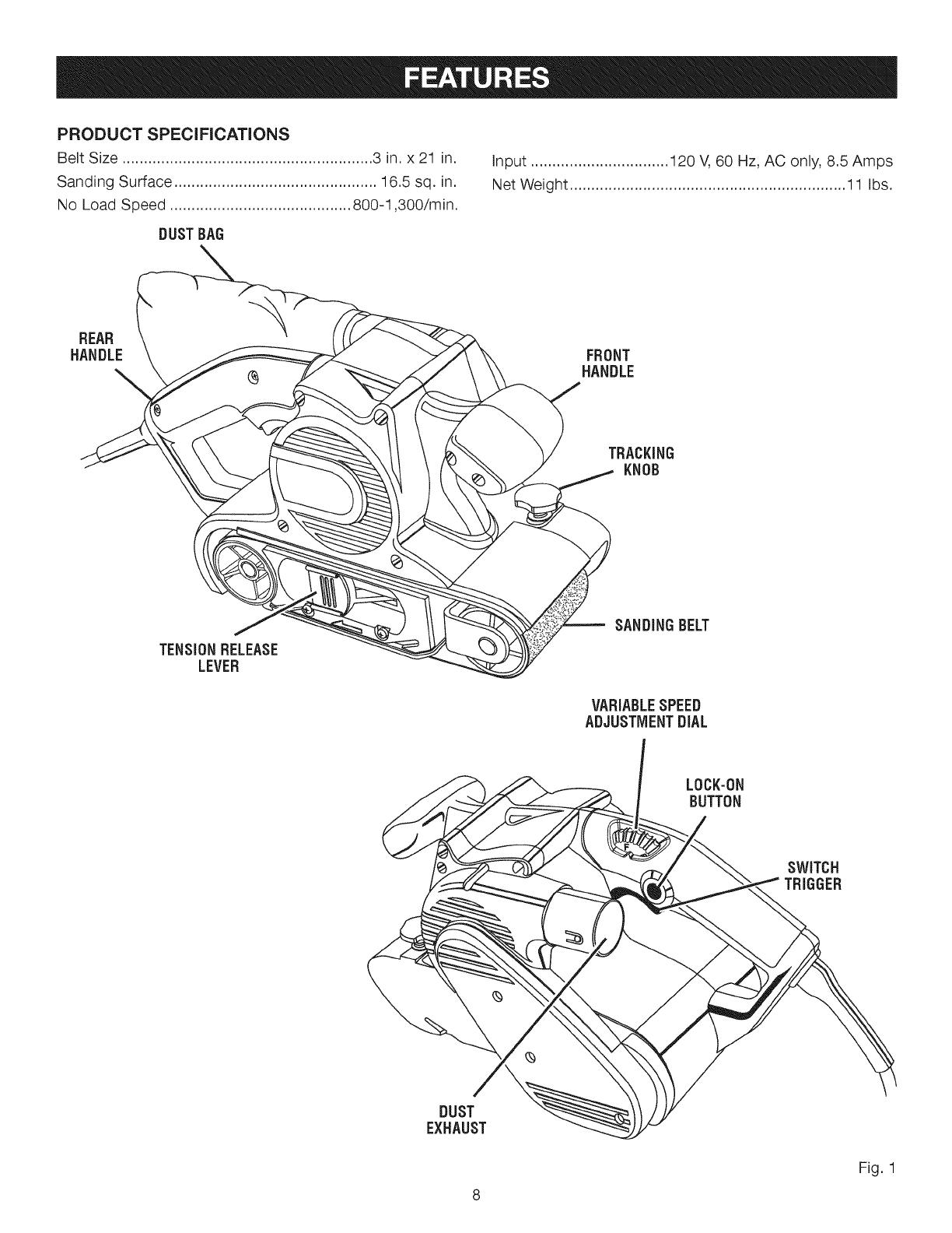 Craftsman User Manual Belt Sander Manuals And