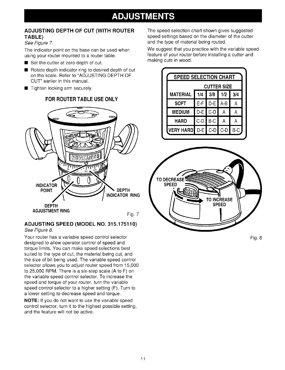 Manual For Craftsman Router 315