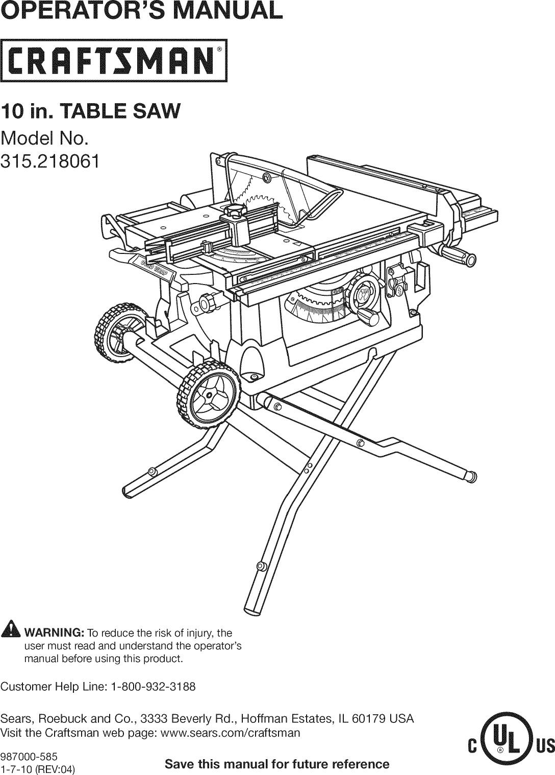 Craftsman Chainsaw User Manual