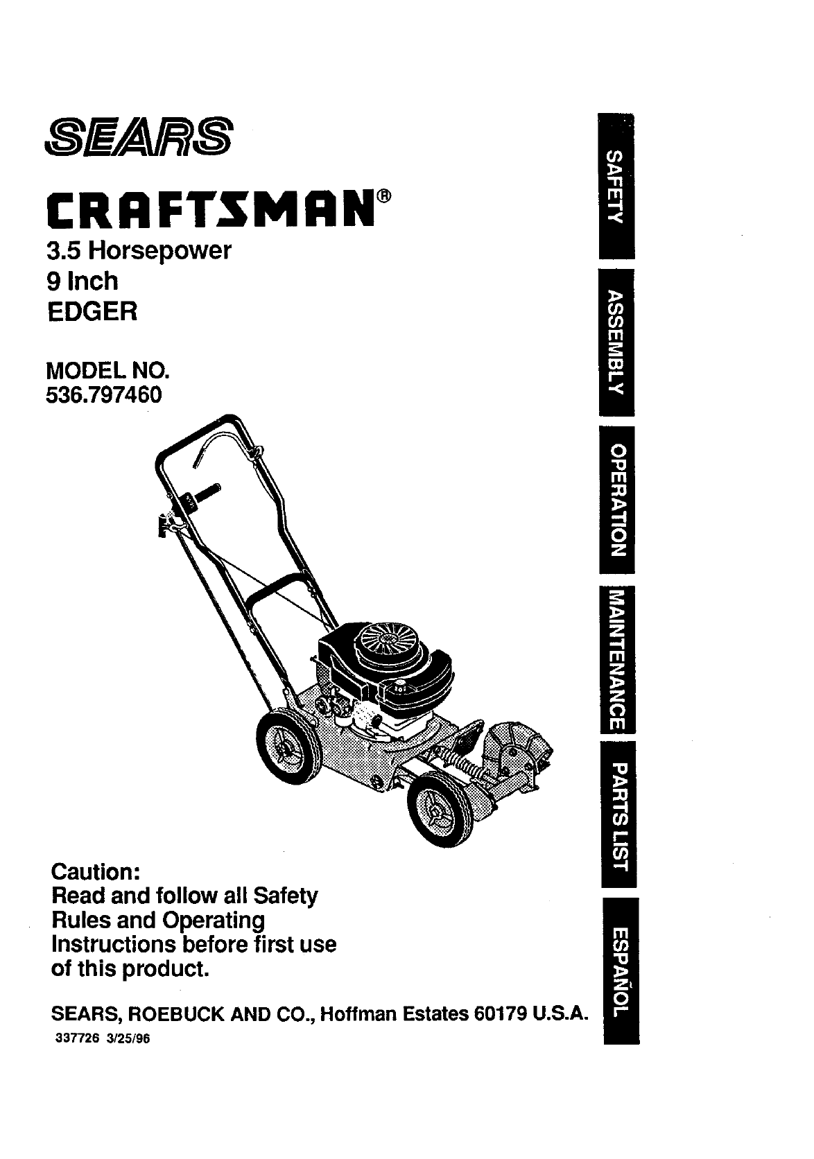 Craftsman User Manual 3 5 Hp 9 Edger Manuals And