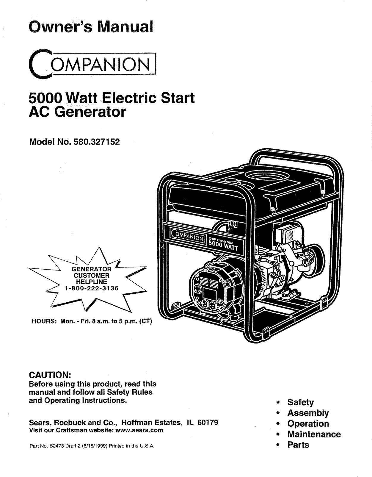 Craftsman User Manual Watt Portable Ac