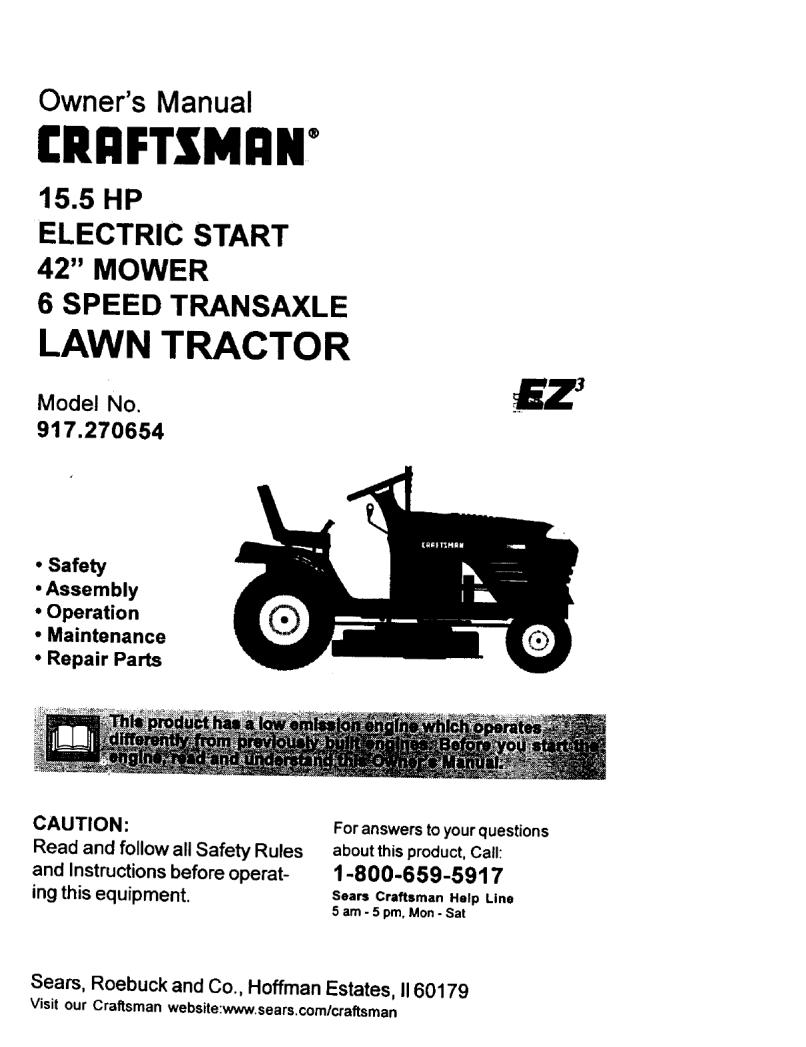 User Manual 15 5hp 42 Lawn Tractor