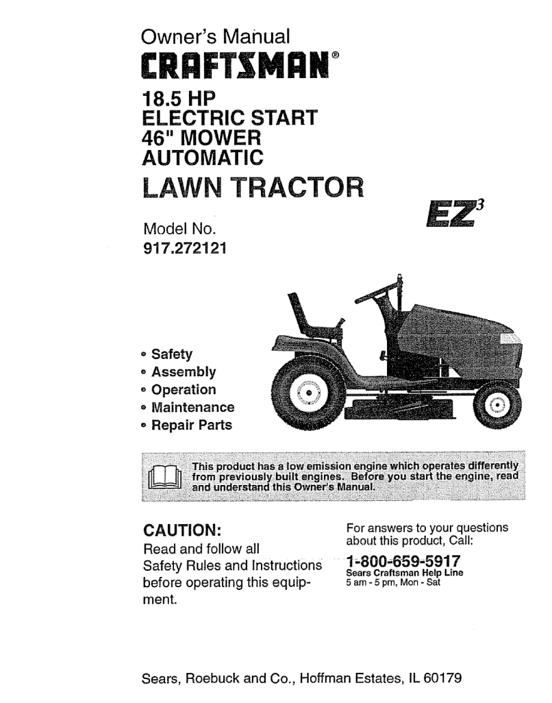 917272121 User Manual Lawn Tractor