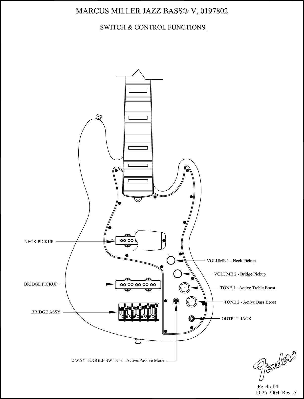 Fender Marcus Miller Jazz Bass Users Manual Sd 019 J