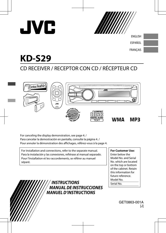Jvc Kd S29j S29 User Manual Get 001a