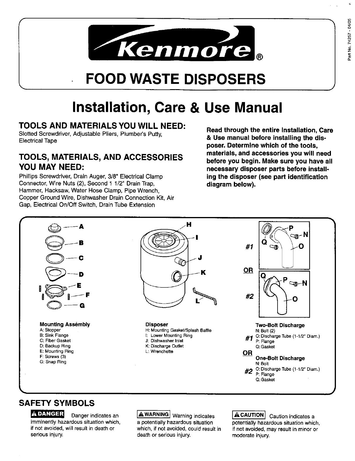 Kenmore 1 2 Hp Garbage Disposal Specifications