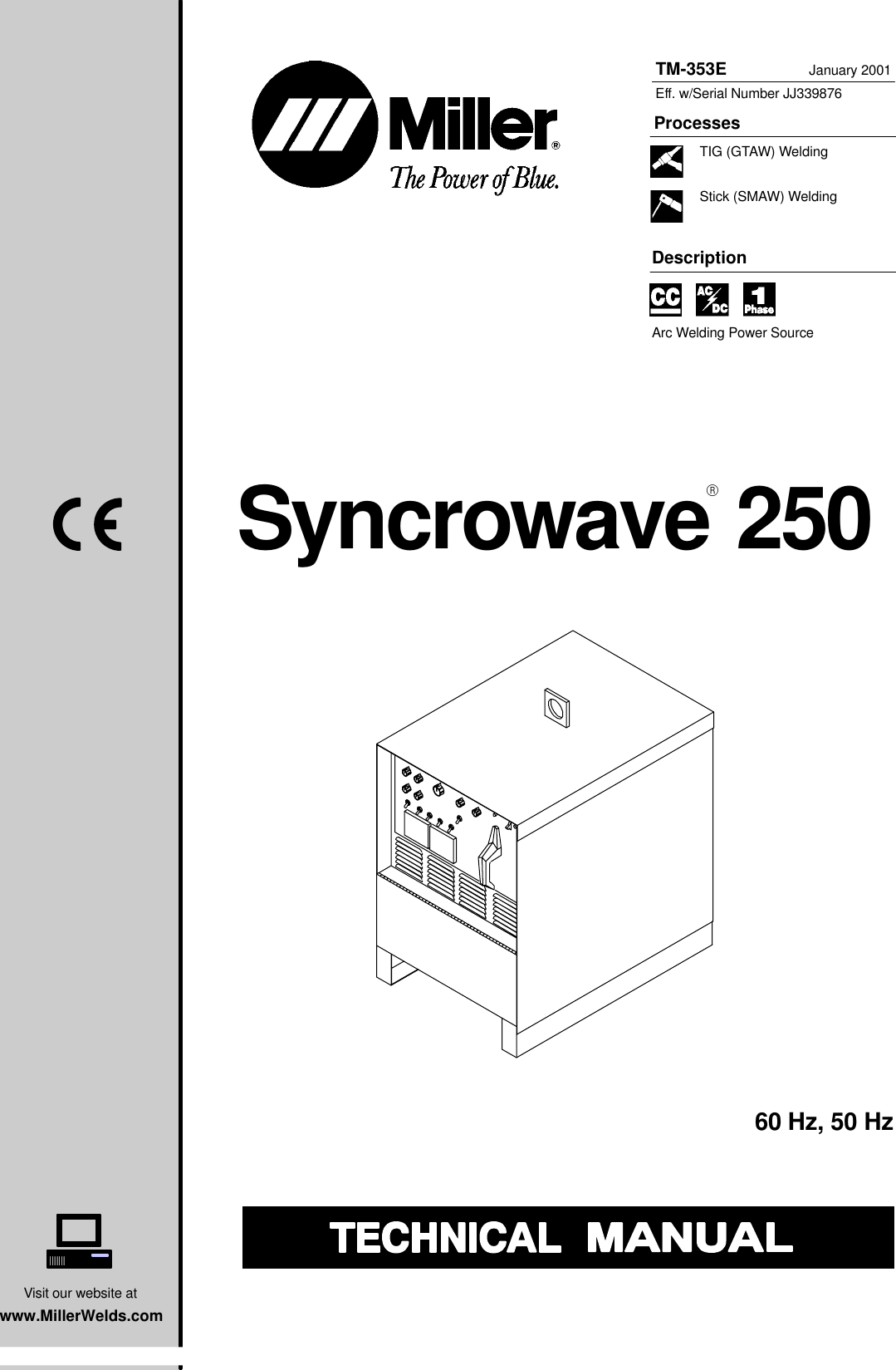 Miller Electric Syncrowave 250 Technical Manual Manualslib