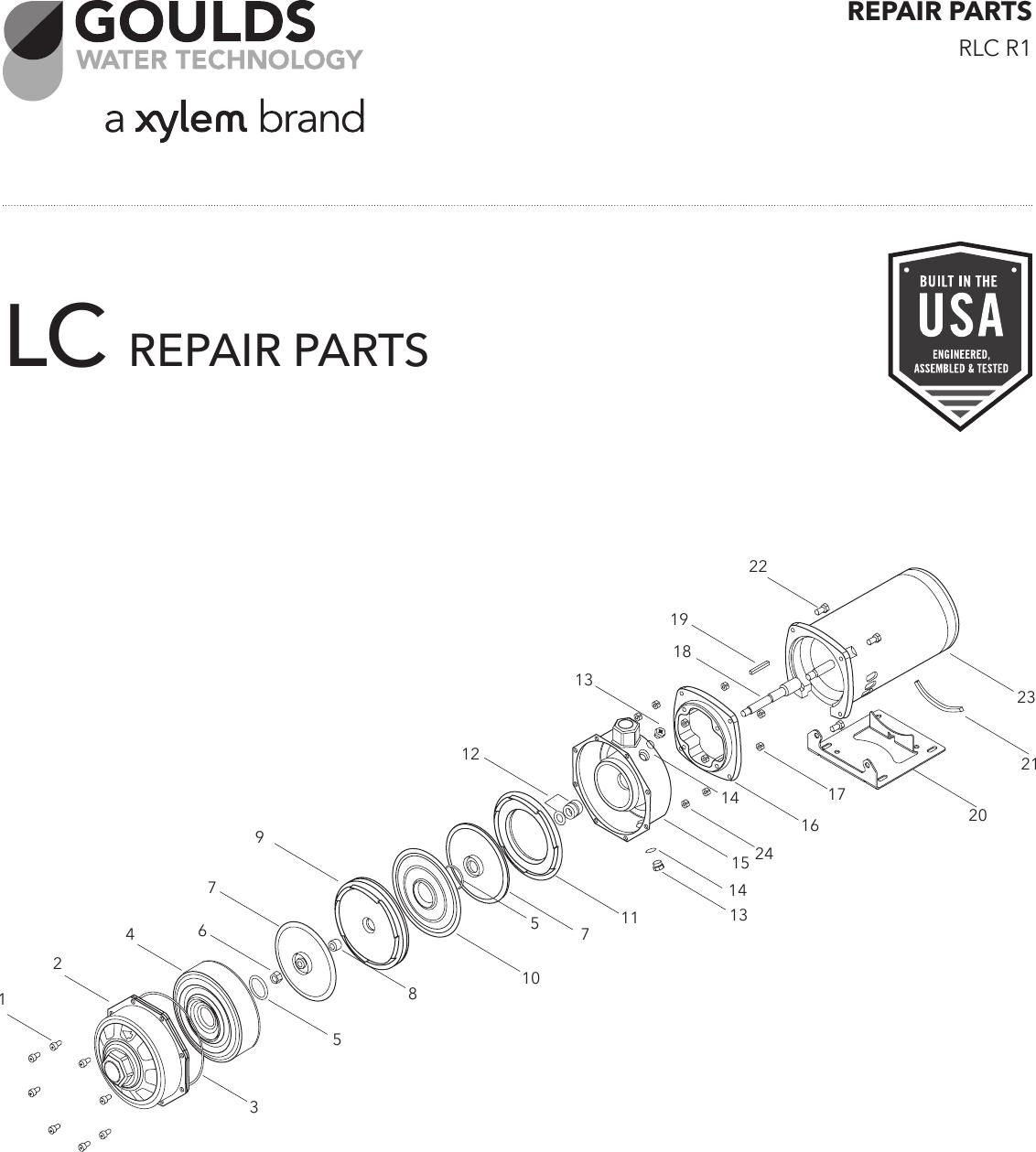 3 goulds lc centrifugal pump repair parts