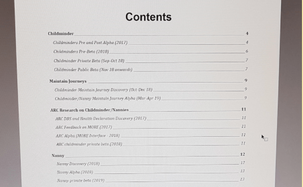 An image of the contents page of the user research library at Ofsted, created by Salma Patel. This contents page includes a list of services, divided by which phase of development the service is in, and shows which pages you can find a summary of the user research conducted in that phase