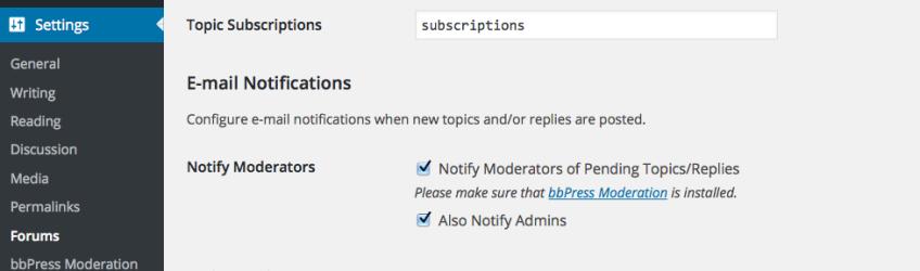 bbPress Moderation Options