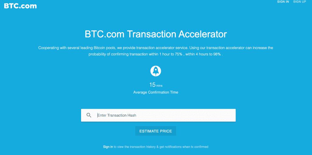 BTC.com Bitcoin transaction accelerator