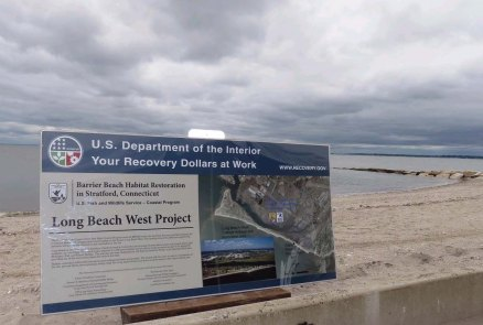 A sign describing the restoration at Long Beach West. Credit: USFWS