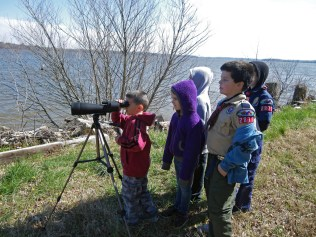 Youth viewing wildlife at Presquile National Wildlife Refuge in Virginia.