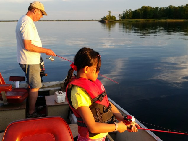The author and daughter Sarah fishing on Lake Champlain in 2016