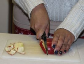 Chopping apples-step 2