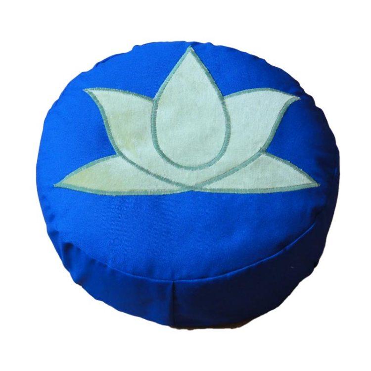 Meditatiekussen met lotus, lichtgroen op kobaltblauw