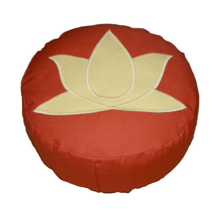 Meditatiekussen met lotus, zandgeel op terracotta