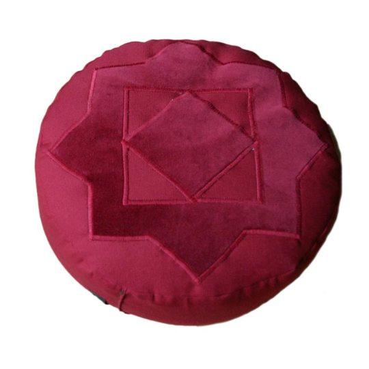 Meditatiekussen met achthoekige ster. bordeaux op bordeaux