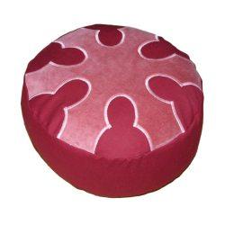 Meditatiekussen met wiel met zes spaken, donkerroze op bordeaux