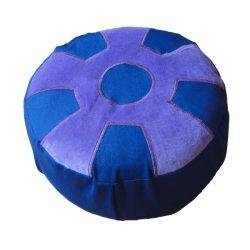 Meditatiekussen met wiel met middencirkel, paars op donkerblauw