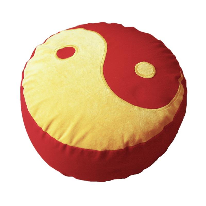 Yin Yang – Maisgeel op helderrood