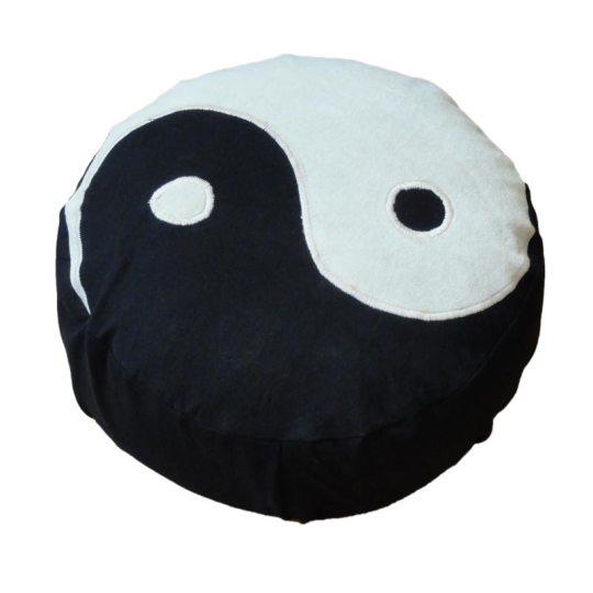 Meditatiekussen met yin yang teken, wit op zwart