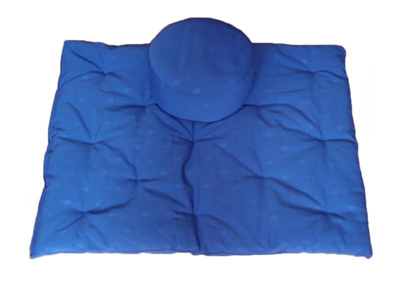 Meditatieset dichtgenaaide kussens, blauw met ingeweven bloemmotief