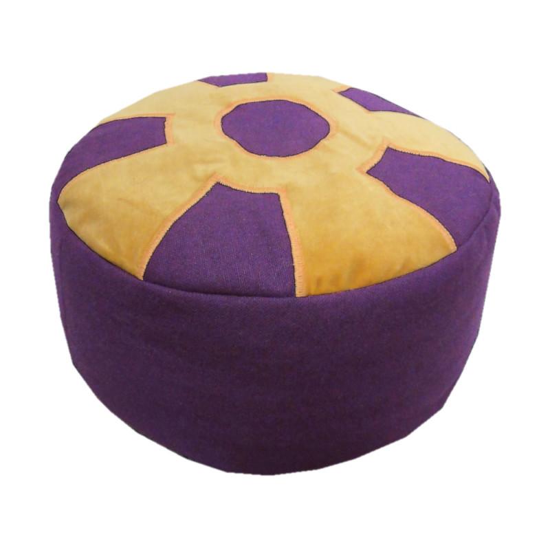 Meditatiekussen met wiel met middencirkel, zandgeel op paars