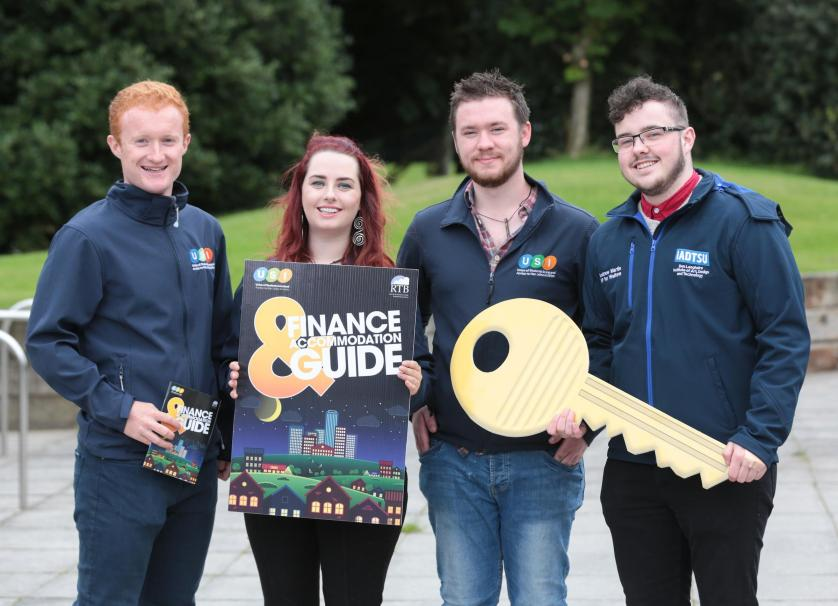 NO REPRO FEE. Maynooth University, 30/08/2016. Pictured here at the launch of the USI and RTB Finance and Accommodation Guide were Jack Leahy (left), Deputy President of USI, Annie Hoey, USI President, Cian Power, USI VP for Welfare and Andrew Martin, Students' Union IADT. The guide has a rent book and inventory checklist included, so students can record any damages or missing utensils at the start of the lease, and not be penalised unfairly on their deposit. The guide also provides information on finance and gives budgeting tips for students to financially manage the college year.  Pic: Alan Rowlette ENDS Contact: Annie Hoey, USI President, 087-6776636 Dillon Grace, Maynooth Students' Union President, 01-7086436 Jack Leahy, USI Deputy President, 0861303101 For media requests email Fiona.omalley@usi.ie or call 0874495695 USI is the national representative body for the 354,000 students in third level education on the Island of Ireland.  We are a membership organisation – our members are our affiliated Students' Unions around Ireland, North and South.