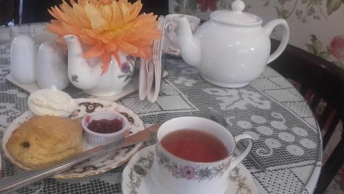 Afternoon tea at Clarinda's tea room.