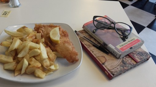 Fish and chips, reading and writing.