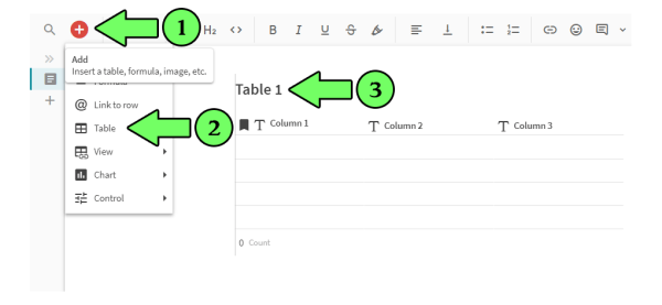 Creating a table in Coda