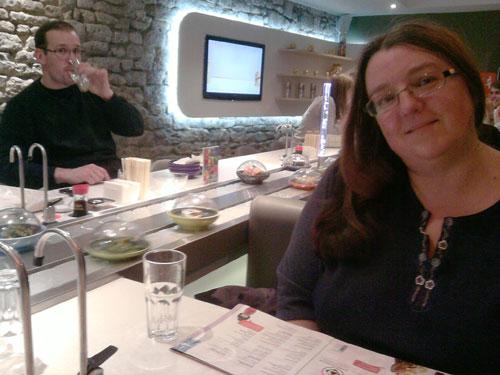 Mirinda's first time at Yo! Sushi.