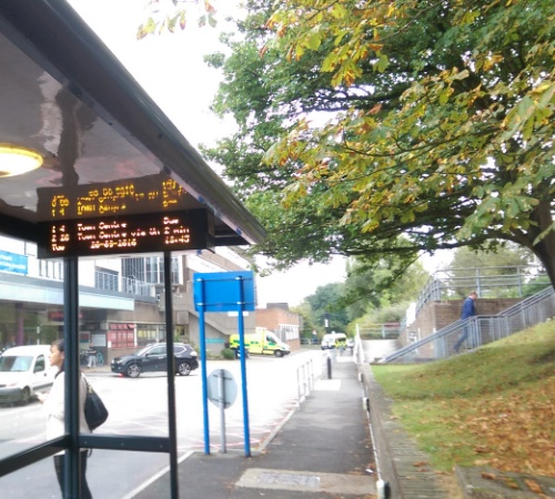 Bus stop back to Guildford
