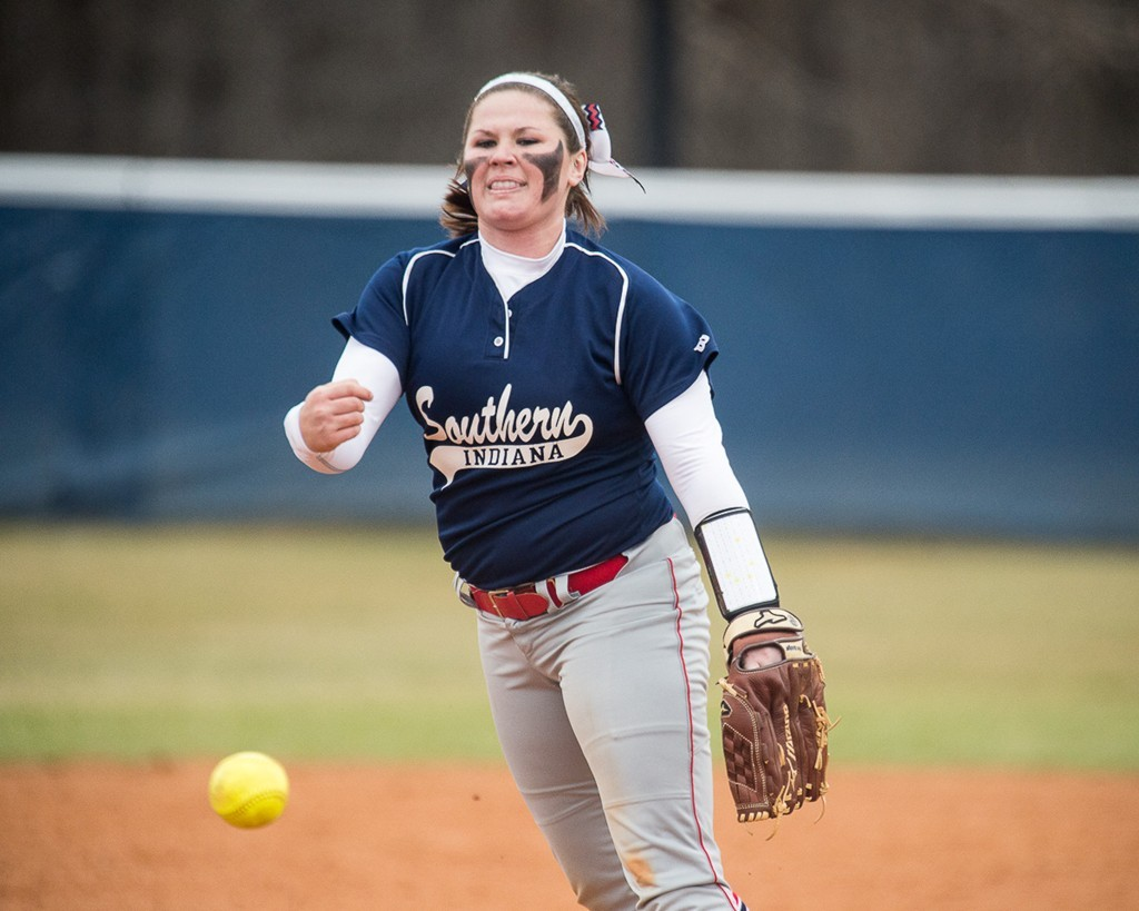Sophomore Caitlyn Bradley pitches during a game against Trevecca Nazarenne in 2016 at the USI baseball fields.