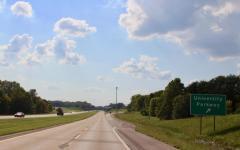 Westbound Lloyd Expressway condensed to one lane