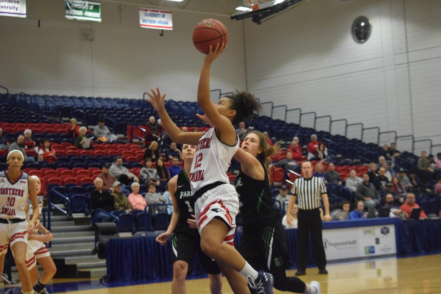 Ashley+Johnson%2C+sophomore+guard%2C+gets+into+the+paint+for+a+layup