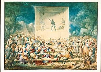 A watercolor painting of a camp meeting in Tenn. or Ky. c. 1839