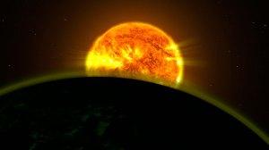 Hubble etsii merkkejä planeetoista, joilta löytyy myös vettä. Sellaisia on löytynyt viitisen kappaletta. Ne eivät ole Maan kaltaisia, vaan enemminkin Jupiterin kokoisia kaasujättiläisiä. Vesi näkyy kaasukehässä spektriä analysoitaessa. Kuva: ESA Hubble.