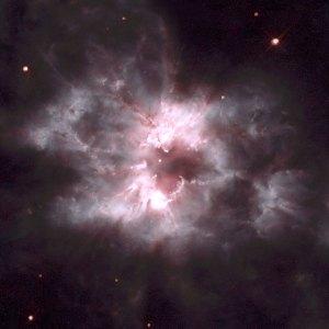Tämä tähtitaivaan orkidea on NGC 2440. Sumun keskellä oleva tähti on hyvin kuuma, yksi kuumimpia koskaan havainnoituja. Kuva: ESA Hubble.