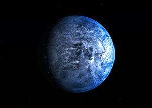 """Kaukaisia planeettoja on havaittu, mutta niistä ei ole saatu vielä tämänkaltaisia kuvia. Tämä onkin taiteilijan näkemys jättimäisestä sinisestä kaasuplaneetasta, joka on oikeasti olemassa 63 valovuoden päässä meistä (""""lähellä!"""") ja saanut koodinimen HD 189733b. Kuva: ESA Hubble."""