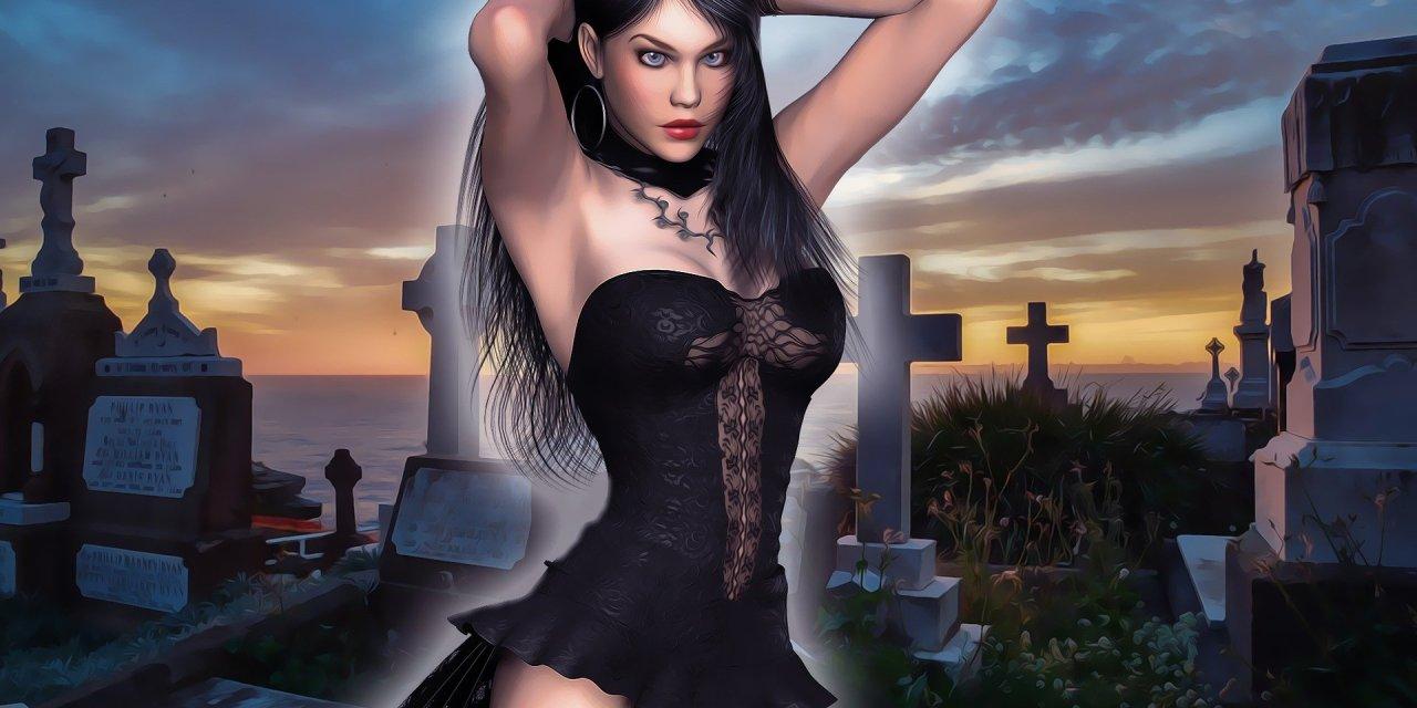Packade damer på kyrkogården…