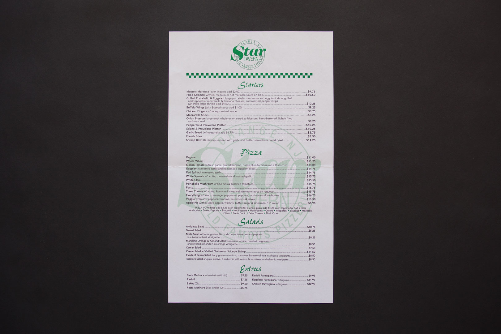 White star tavern menu