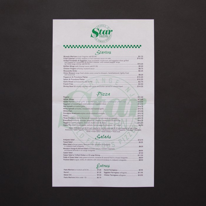Star Tavern Menu