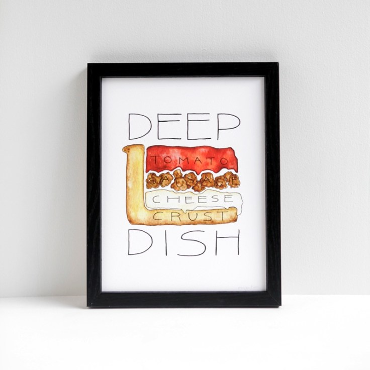 Chicago Deep Dish Pizza watercolor print by Alyson Thomas