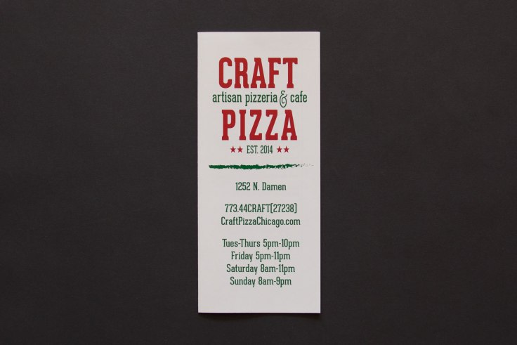 Craft Pizza Menu